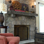 Hand crafted masonry fireplace-Wauwatosa custom house