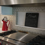 Stamped tin kitchen backsplash-unique!